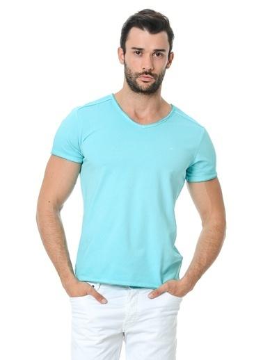 Cazador V Yaka Tişört Mavi